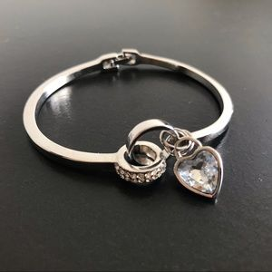 Jewelry - silver bracelet with crystal heart charm
